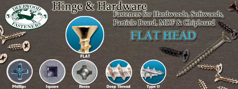 Hinge and Hardware Screws Flat Head